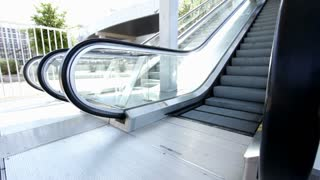 Wide angle at bottom of escalator
