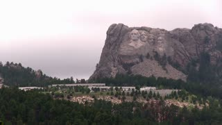 Wide angle shot of Mount Rushmore