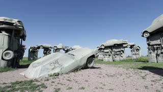Wide angle view of Carhenge