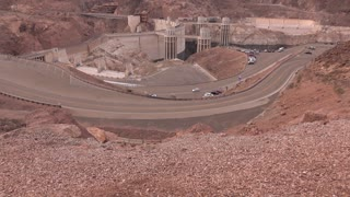 Wide angle view of Hoover Dam and Mead Lake 4k