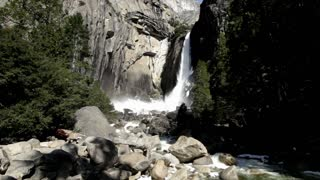 Wide angle view of Yosemite Lower Falls