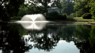 Wide open Pond with fountain
