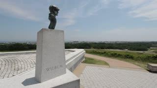 Wilbur Wright Statue overlooking city
