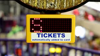 Win Tickets scrolling by on Arcade game