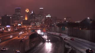 Winter night in downtown Minneapolis Minnesota 4k