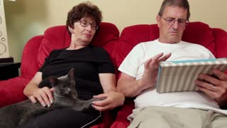 Woman with cat watching man play on tablet