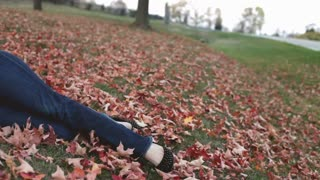 Young brunette laying in leaves on ground