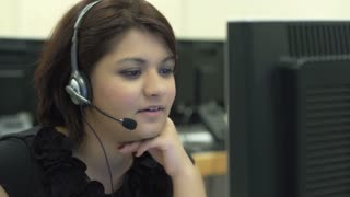 Young female in India working at call center