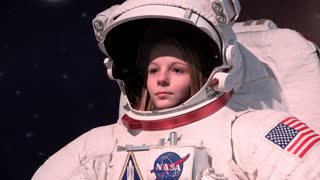 Young female in NASA space suit 4k