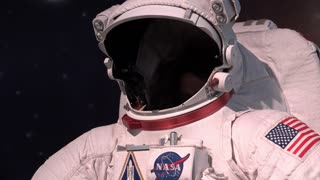 Young male in NASA Astronaut suit 4k