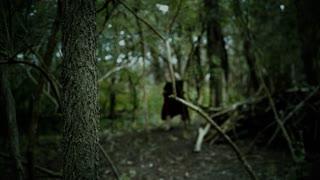 Young renaissance girl running through woods at dawn 4k
