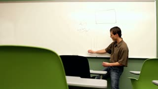 Young teacher drawing on board for empty class