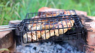 Barbecue chicken legs grilled during picnic