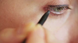 Eye make-up closeup - eye pencil and mascara