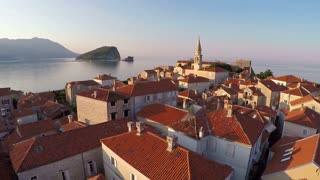 Flying above the old town of Budva, Montenegro - aerial photography