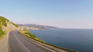 Flying over the highway near the Adriatic Sea - aerial photography