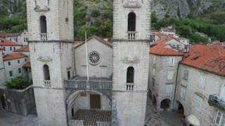 Flying over the old town of Kotor in Montenegro - aerial survey