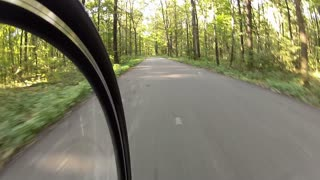 High-speed ride a bike on a forest road