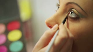 Makeup artist applying eyeshadow closeup