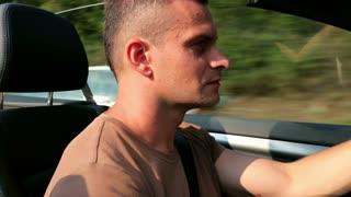 Man riding on cabriolet
