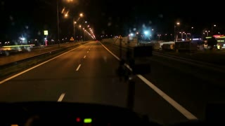 Night riding on the highway