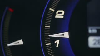Tachometer metering video blue glowing