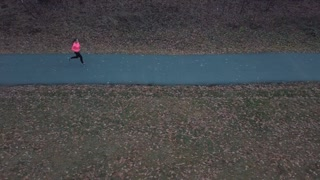 Aerial view of the woman running through an autumn forest at sunset