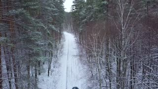 Aerial view on car driving through winter forest road. Scenic winter landscape