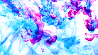 Color drop underwater creating a silk drapery. Ink swirling underwater