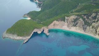 Flight over of Paradise beach at Corfu island in Greece