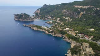 Flight over Paleokastritsa bay, Greece, Corfu island