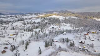 Flight over snowy mountain village and coniferous forest. Clear sunny frosty weather