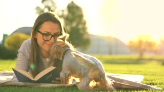Girl in glasses reading book lying down on a blanket in the park and the small dog runs around and plays around at sunset