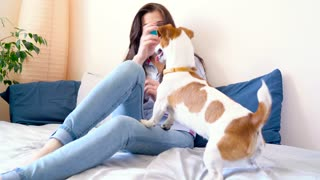 Girl lies and plays on bed together with dog