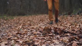 Legs of a man who walks through the autumn forest and kicks the fallen leaves close up. Slow motion