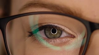 Macro Close-up eye in glasses blinking