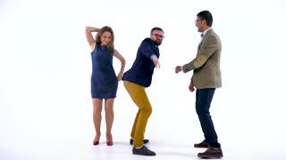 Professional business people having fun dancing like crazy
