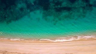 Top view of a deserted beach. Greek coast of the Ionian Sea