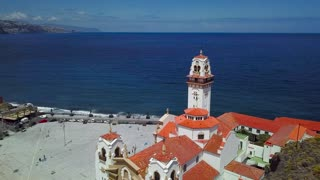 View from the height of the Basilica and townscape in Candelaria near the capital of the island - Santa Cruz de Tenerife on the Atlantic coast. Tenerife, Canary Islands, Spain