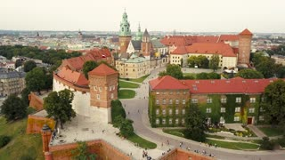 View from the heights of Wawel Castle in the historic center of Krakow