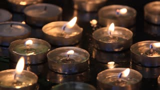 Candles in church of the Nativity in Bethlehem, Palestinian National Authority