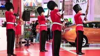 "KIEV, UKRAINE, MAY 27, 2012: British royal guardsmans at yearly automotive-show ""SIA 2011"" in Kiev, Ukraine."