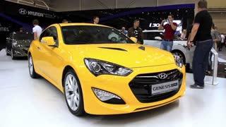 "KIEV, UKRAINE, MAY 27, 2012: Yellow Hyundai Genesis at yearly automotive-show ""SIA 2011"" in Kiev, Ukraine."