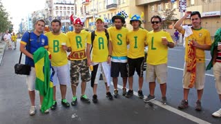 "KIEV, UKRAINE - 1 JULY 2012: Football fans from Brazil before final match of European Football Championship ""EURO 2012"" (Spain vs Italy), Kiev, Ukraine, July 1, 2012."