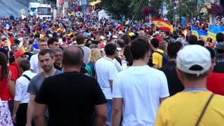 "KIEV, UKRAINE - 1 JULY 2012: Football fans crowd before final match of European Football Championship ""EURO 2012"" (Spain vs Italy), Kiev, Ukraine, July 1, 2012."