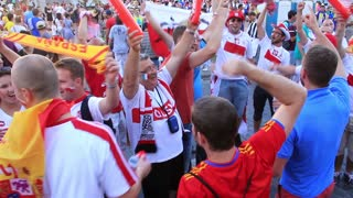 "KIEV, UKRAINE - 1 JULY 2012: Polish football fans before final match of European Football Championship ""EURO 2012"" (Spain vs Italy), Kiev, Ukraine, July 1, 2012."
