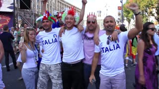 "KIEV, UKRAINE - 1 JULY 2012: Italian football fans before final match of European Football Championship ""EURO 2012"" (Spain vs Italy), Kiev, Ukraine, July 1, 2012."