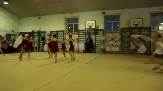 KIEV, UKRAINE, DECEMBER 22, 2012: Young girls gymnasts at the New Year's performance in school of gymnastics.
