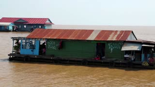 Floating village of Vietnamese refugees on the Tonle Sap lake in Siem Reap province, Cambodia