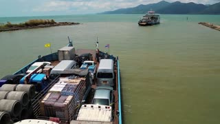Ferry boat ready to sail to the Koh-Chang island, Gulf of Siam in Thailand